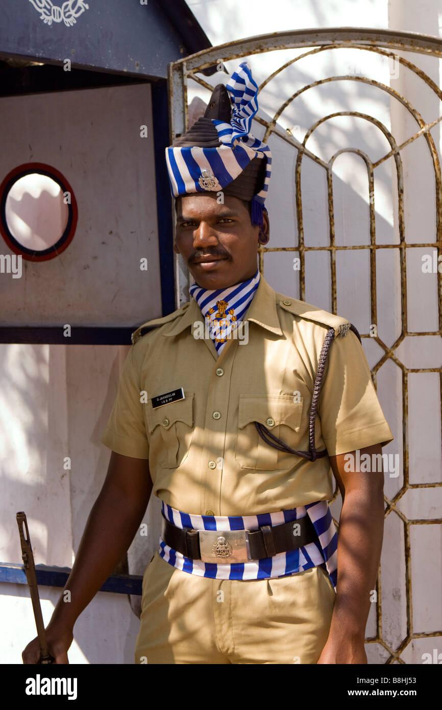 India Pondicherry Armed Policeman In Formal Dress Uniform Guarding
