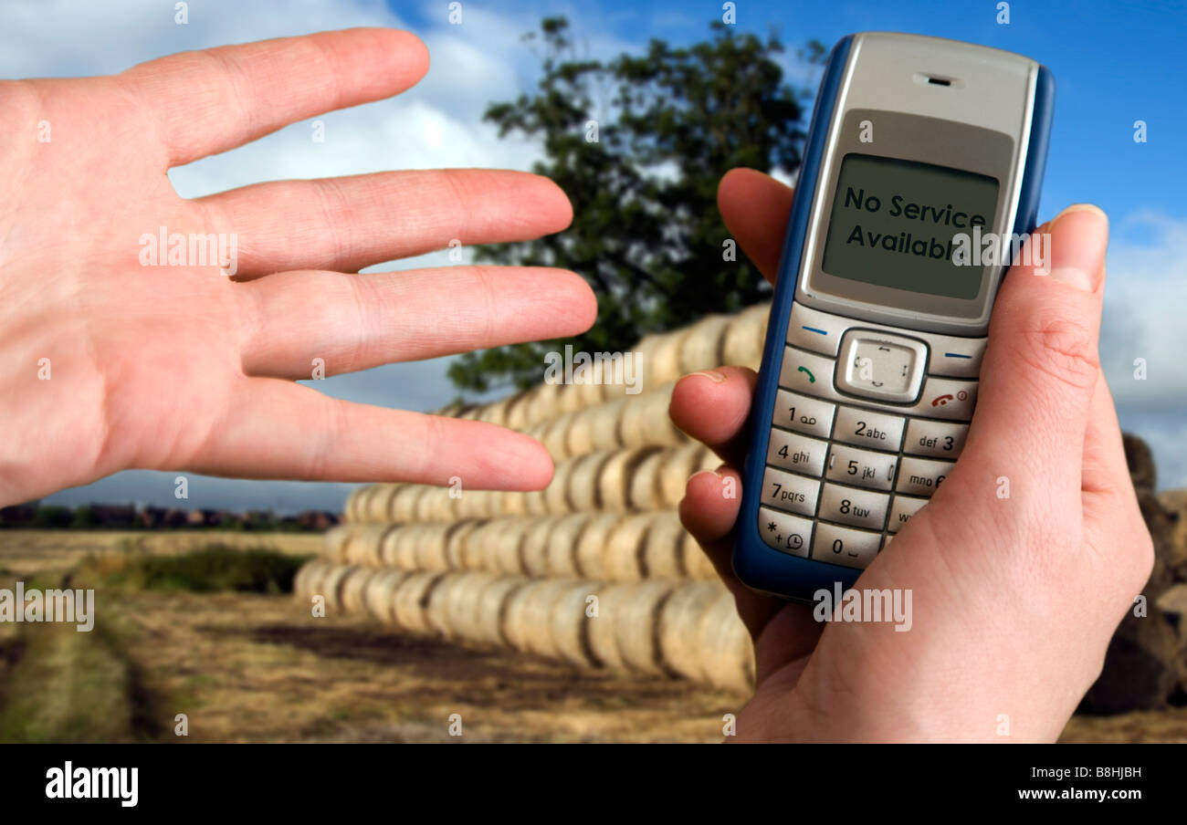 concept of the unpredictable nature of cellular phone signal - Stock Image