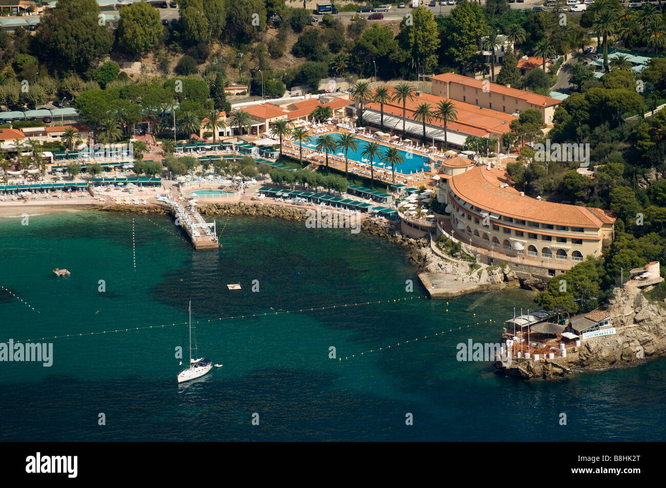 Montecarlo Beach Club View From Helicopter Cote D Azur Monaco Stock Photo Alamy