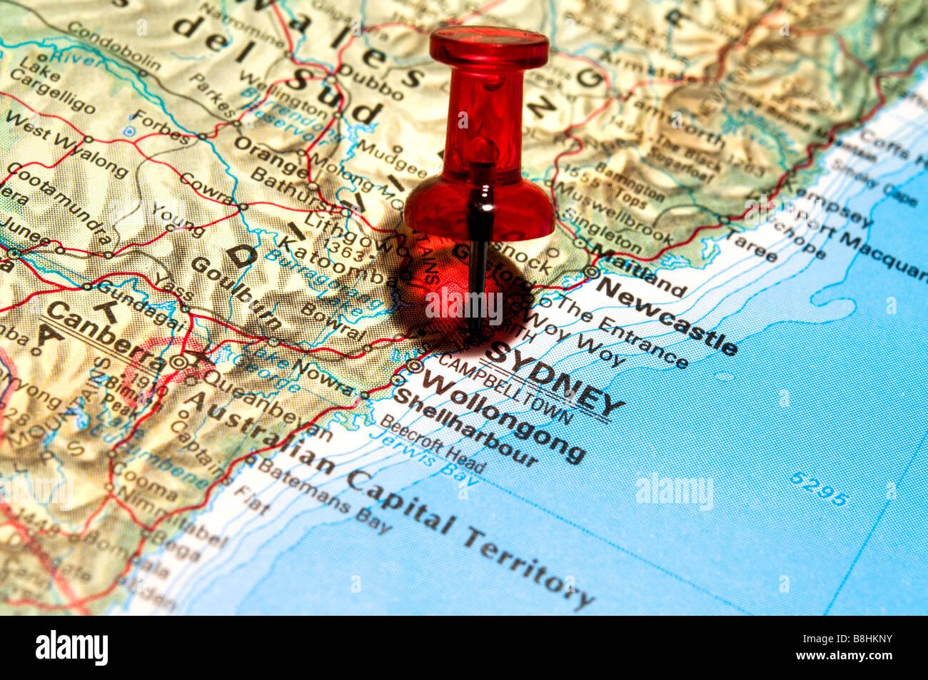 Map pin australia stock photos map pin australia stock images alamy red pushpin on an atlas sidney stock image gumiabroncs Images
