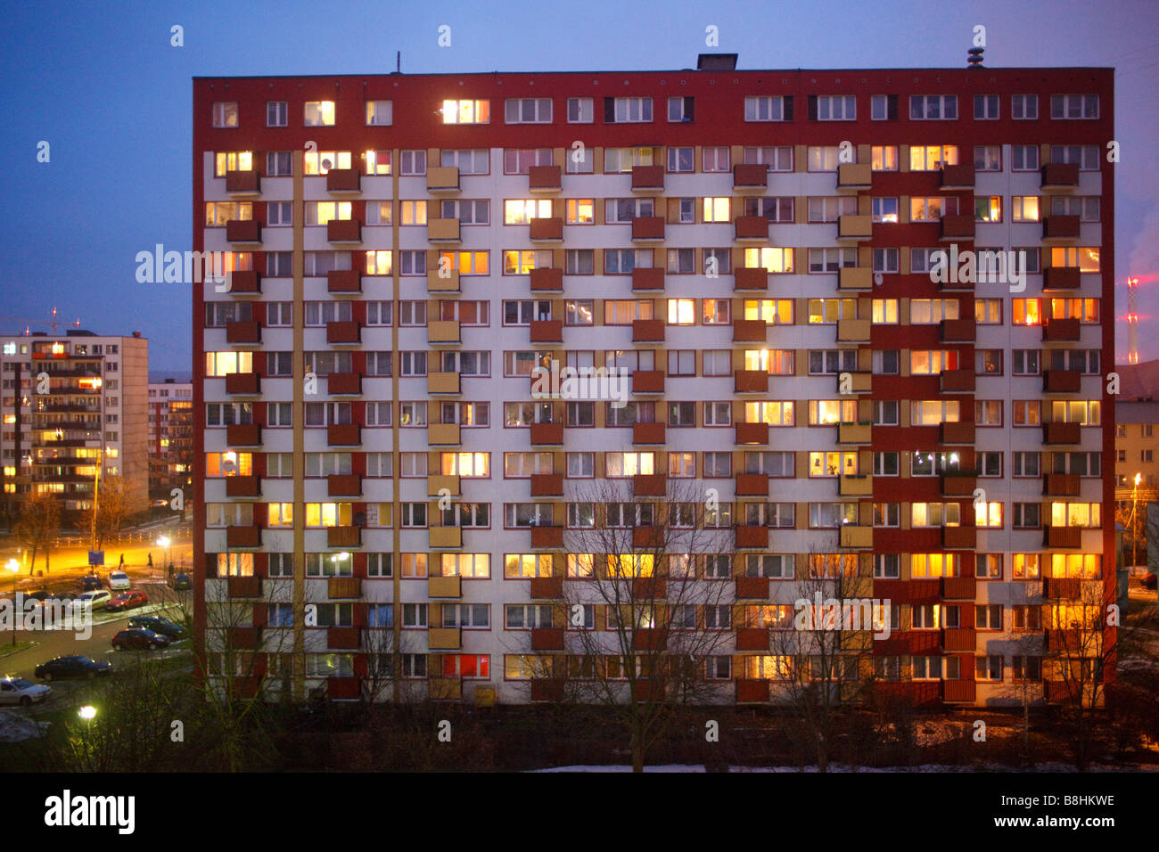 Socialist highrise blocks from the end of 70s in Bialystok in Eastern Poland - Stock Image