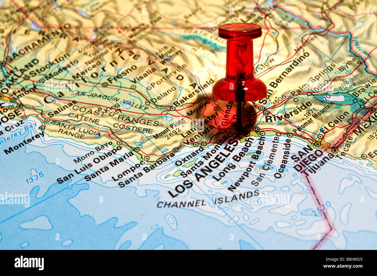 road map usa red pin stock photos road map usa red pin stock
