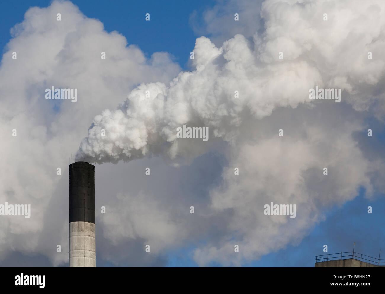 Croswell Michigan The smokestack of a sugar refinery operated by the Michigan Sugar Company - Stock Image