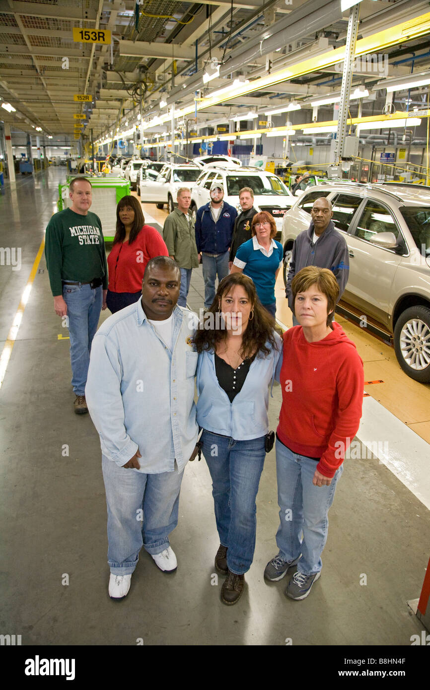 Lansing Michigan Members of UAW Local 602 at General Motors Delta Township assembly plant - Stock Image