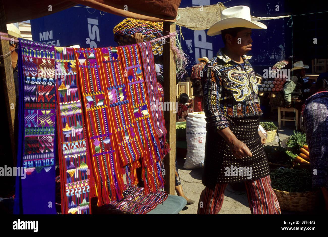 Men in traditional dress Solola market Guatemala Central America - Stock Image