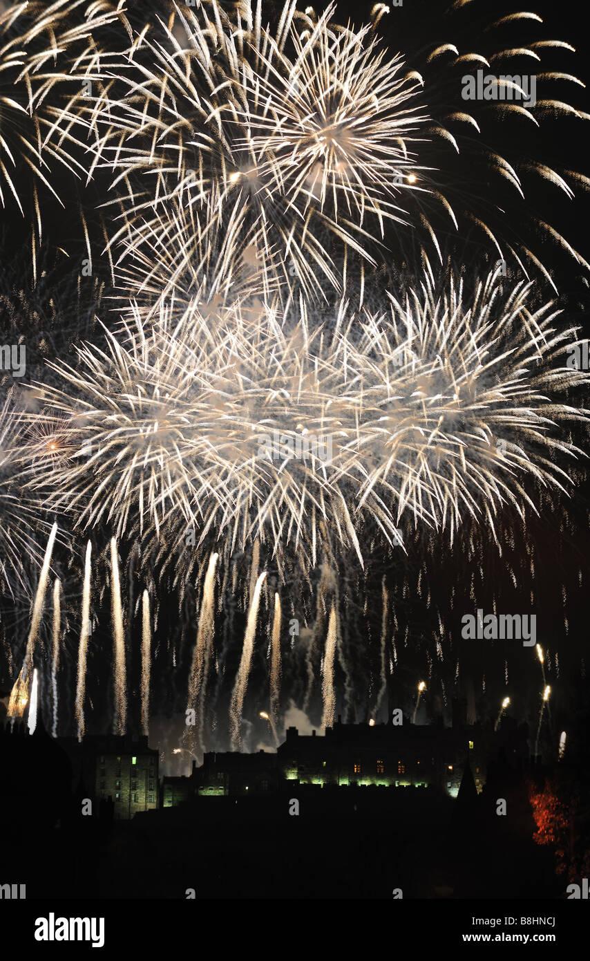 Spectacular fireworks over Edinburgh Castle Scotland celebrating hogmanay that is New Year - Stock Image
