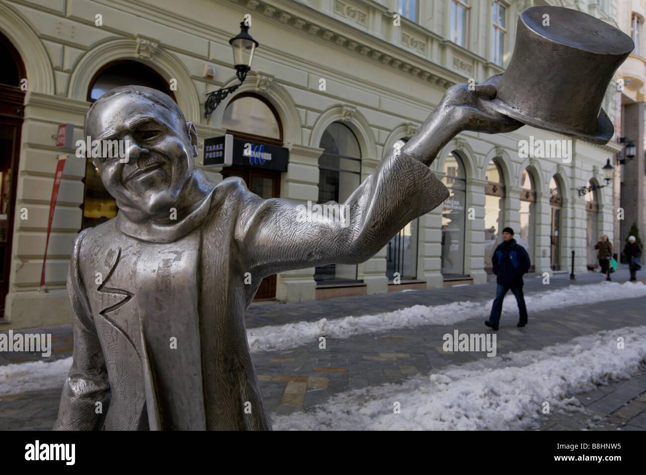 Schone Naci Statue in Bratislava, Slovakia. - Stock Image