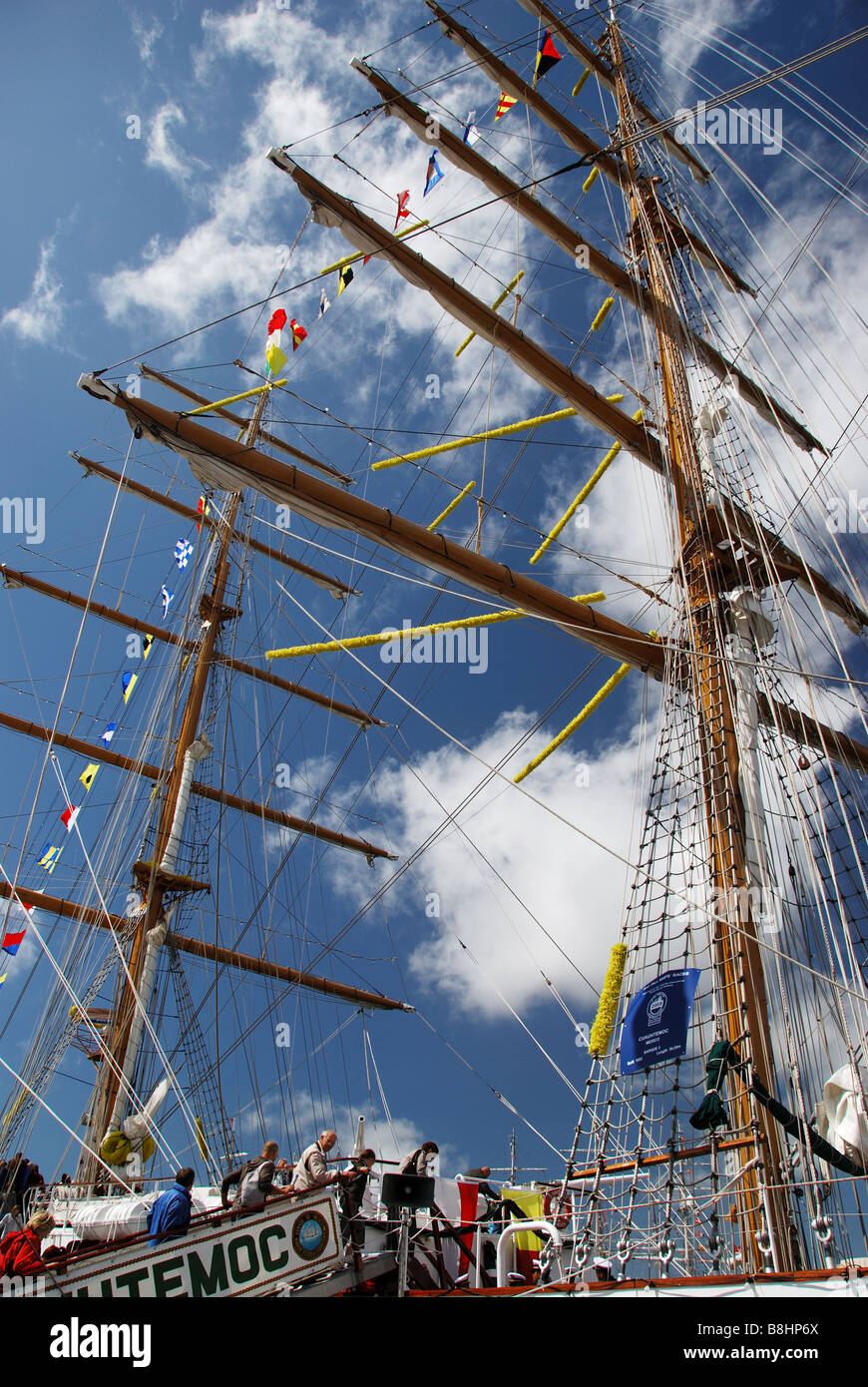 Tall Ship Cuauhtemoc moored at Liverpool prior to the Tall Ships Race - Stock Image
