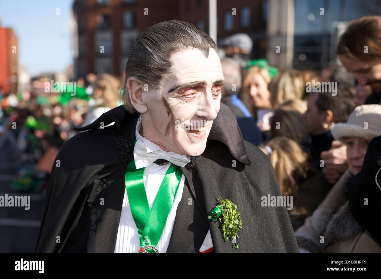 Participants, spectators and characters and parade onlookers in the St Patricks Day parade, Dublin, Ireland Stock Photo