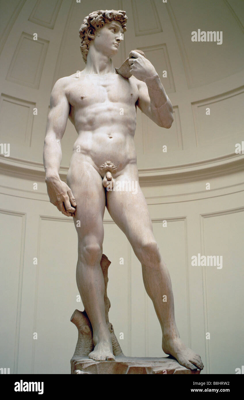 Florence Italy David by Michelangelo in Galleria dell Accademia - Stock Image