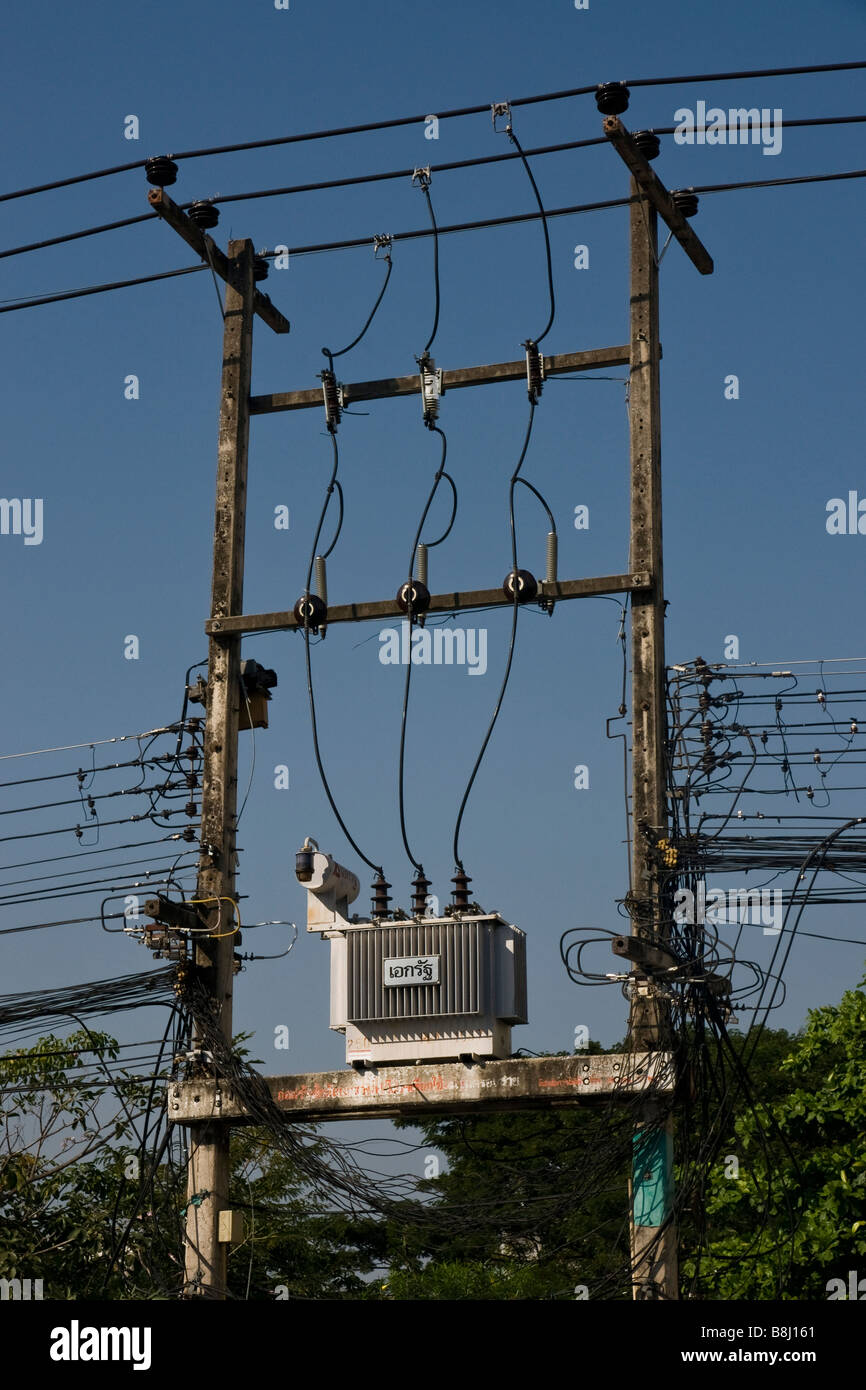 An electricity sub station in Thailand - Stock Image