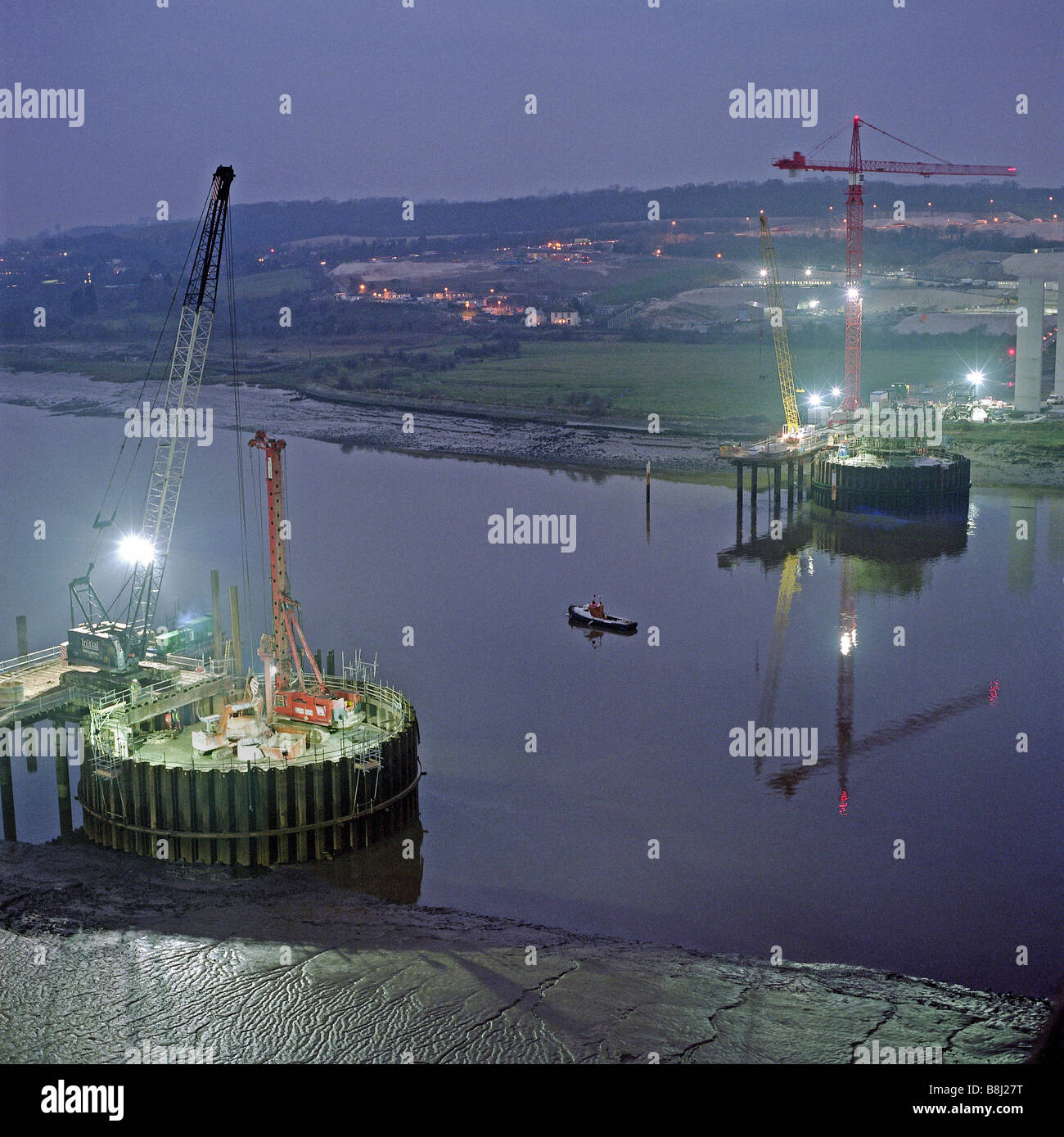 Two Circular Sheet Piled Cofferdams Built In The River