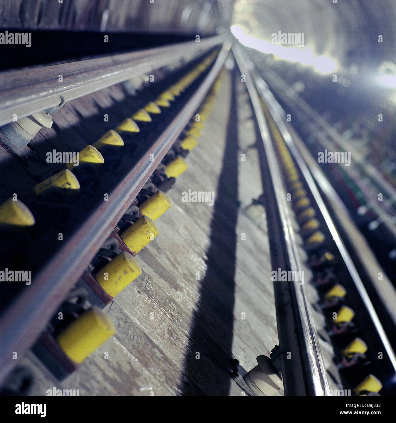 Newly laid trackwork on the Jubilee Line Extension, a part of London Underground's Tube network. - Stock Image