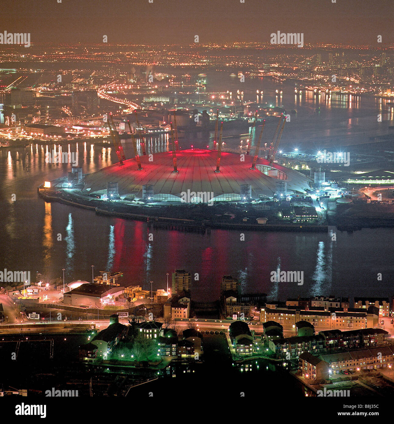 The Millennium Dome/O2 Arena in London decorated with 'red nose' for Comic Relief, a charity providing money for Stock Photo