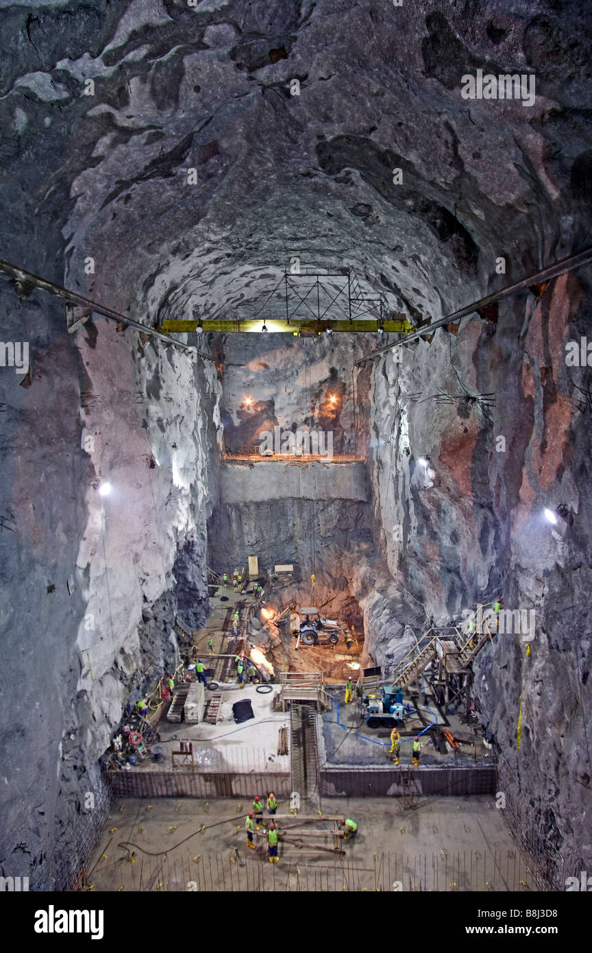 Excavation of underground gallery for hydropower plant in Ecuador which will produce industrial and domestic electricity. - Stock Image