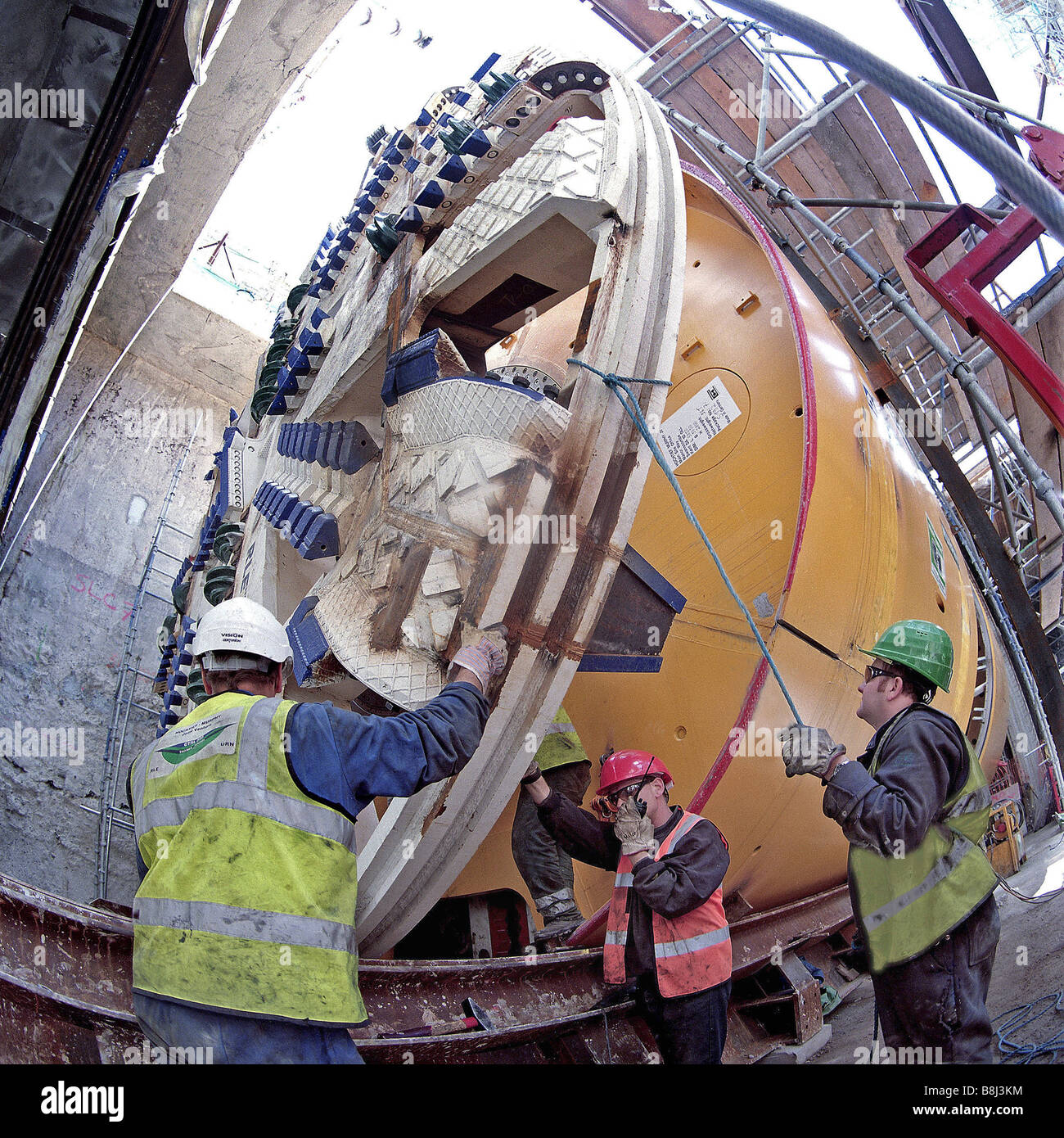 Cutterhead for Tunnel Boring Machine 'Milly' for Thames Tunnel on the Channel Tunnel Rail Link is lowered - Stock Image