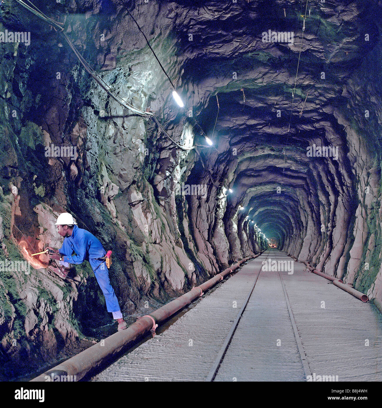 Access passage excavated using explosives for tunnel boring machine on the historic 30-year Lesotho Highlands Water - Stock Image