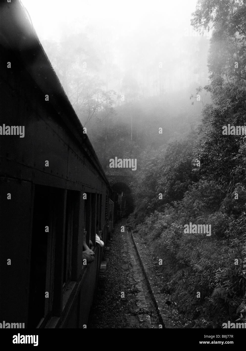 Train entering tunnel as it journeys through sri lank. Stock Photo