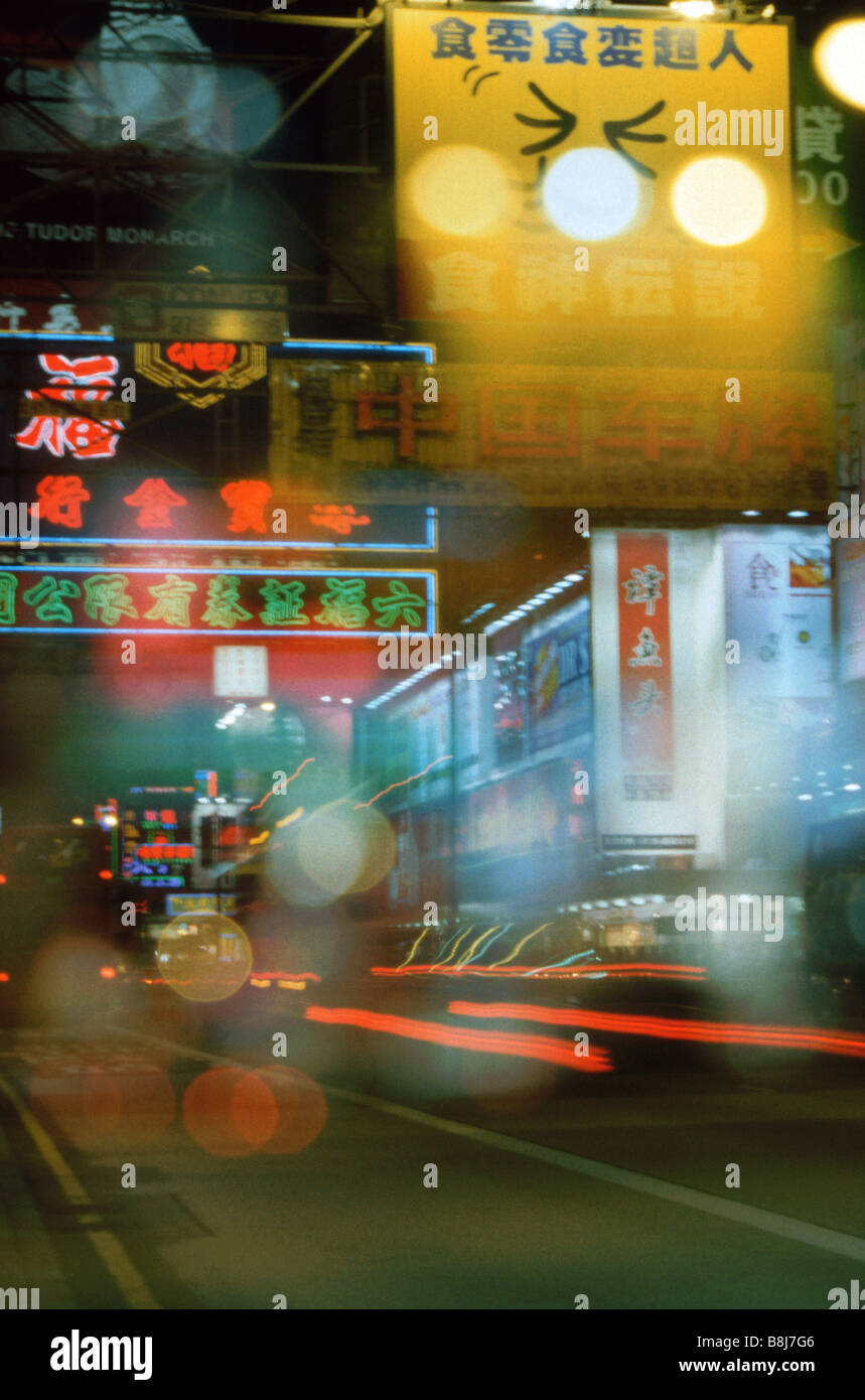 Traffic on Hennessey road, Central district, Hong Kong island, Hong Kong - night Stock Photo