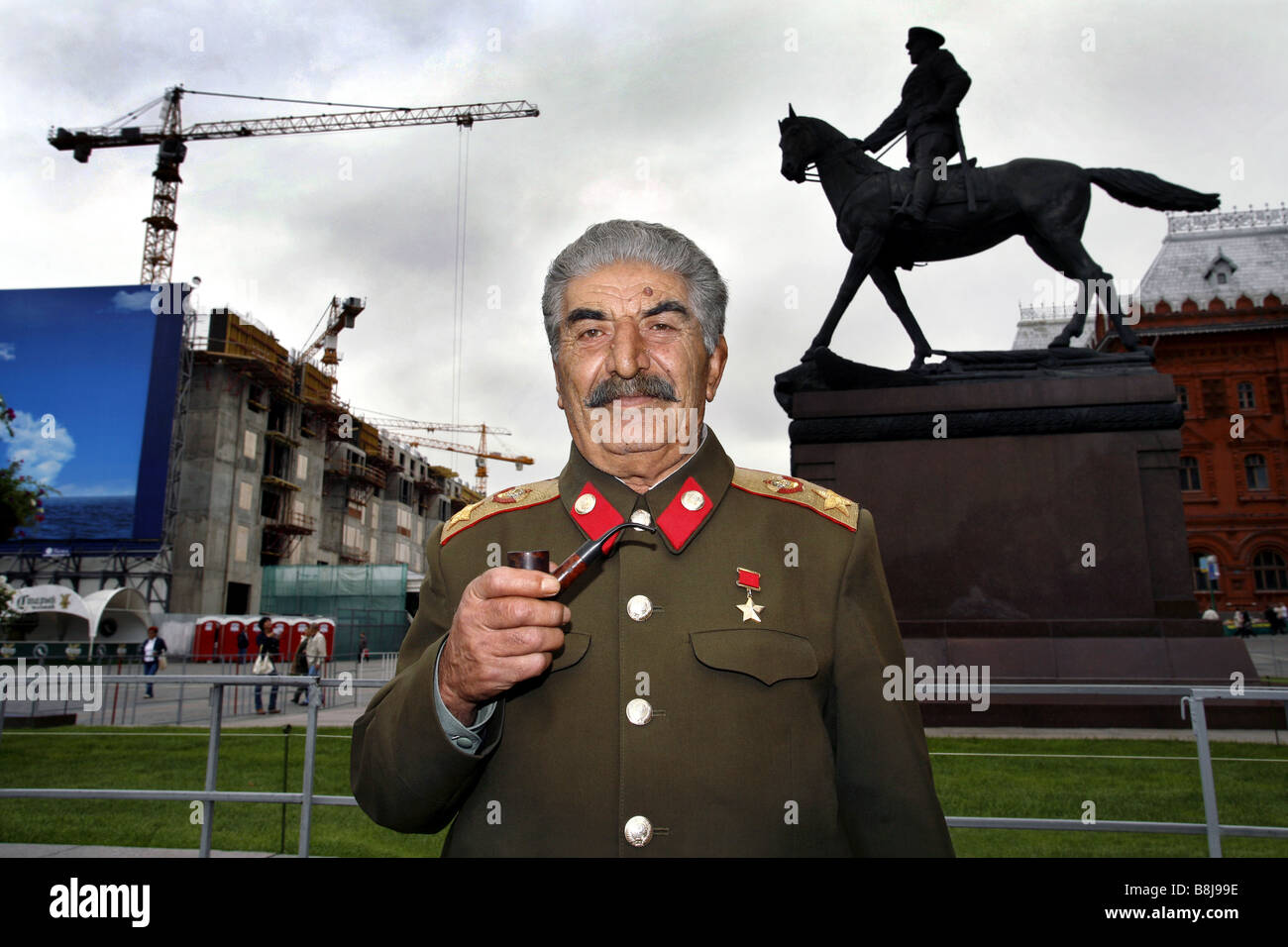 Joseph Stalin impersonator, Manege Square, Moscow, Russia - Stock Image