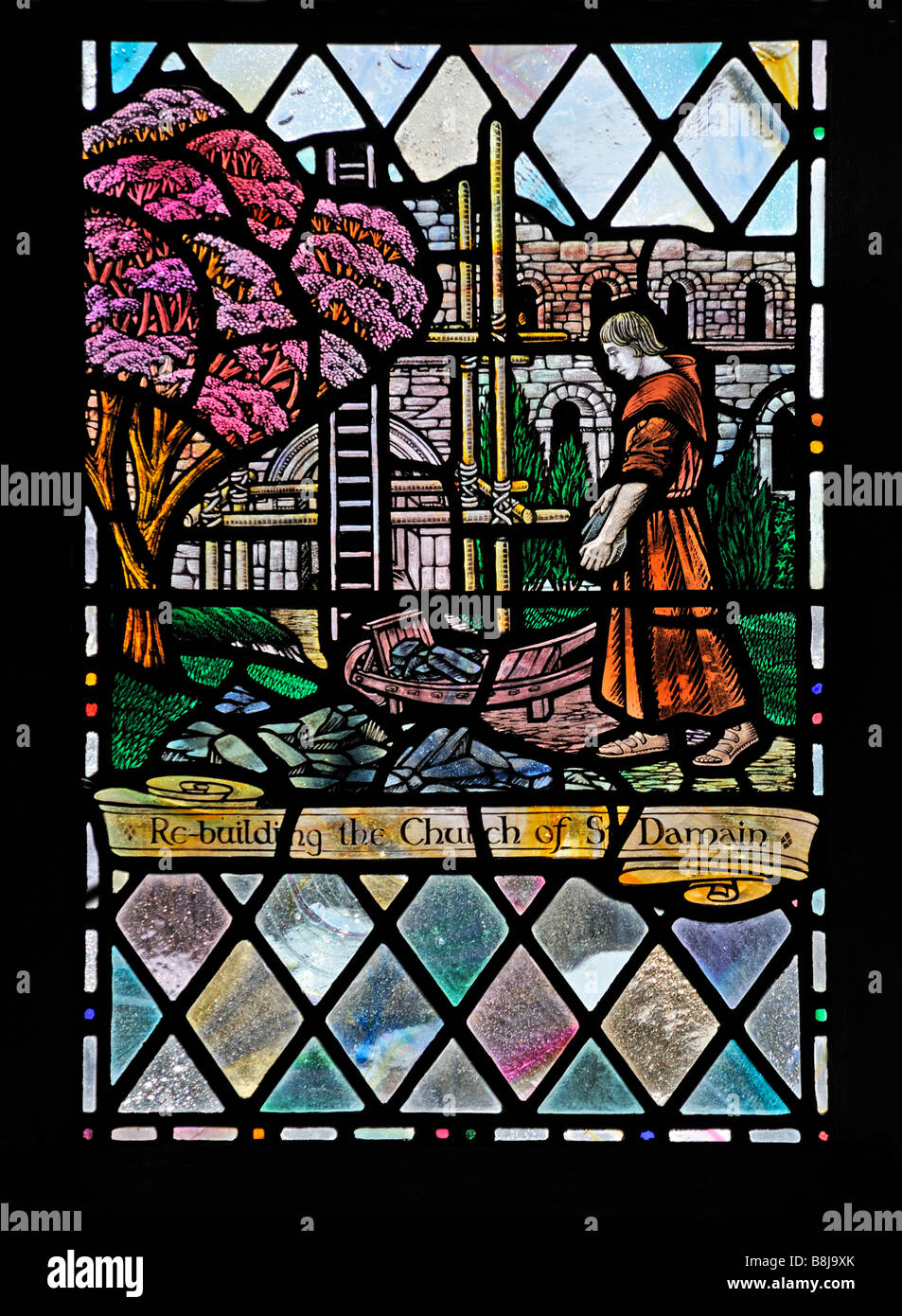 Re-building the Church of St. Damian, Saint Francis window, (detail). Holy Trinity Church, Chapel Stile, Langdale. - Stock Image