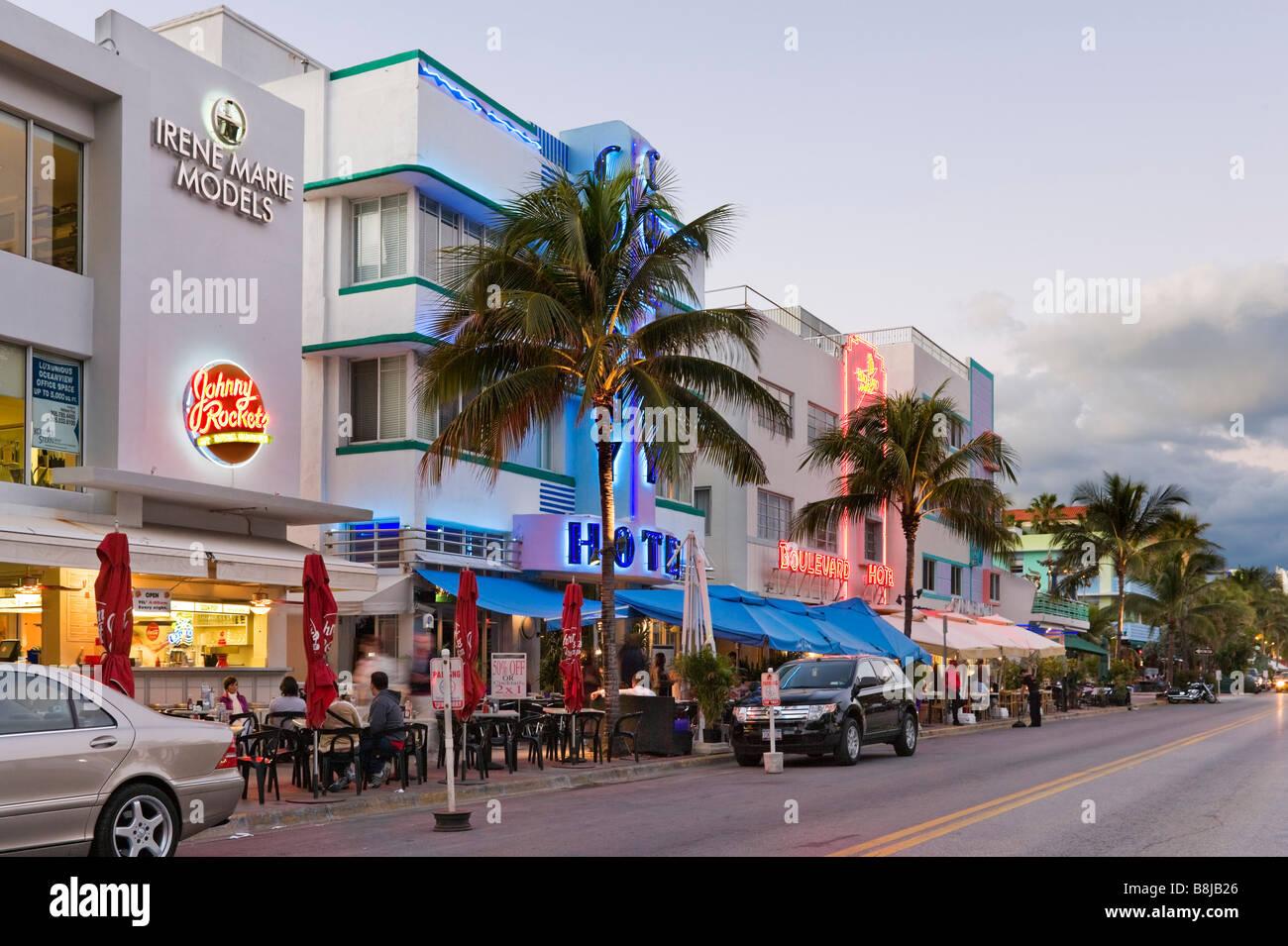 Art Deco Hotels And Restaurants On Ocean Drive At Dusk South Beach