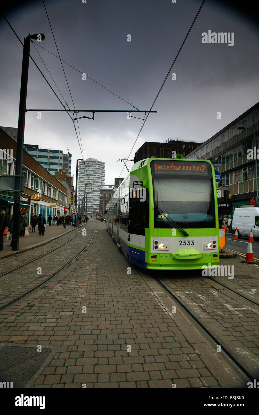 Tramlink in George Street, Croydon, London - Stock Image