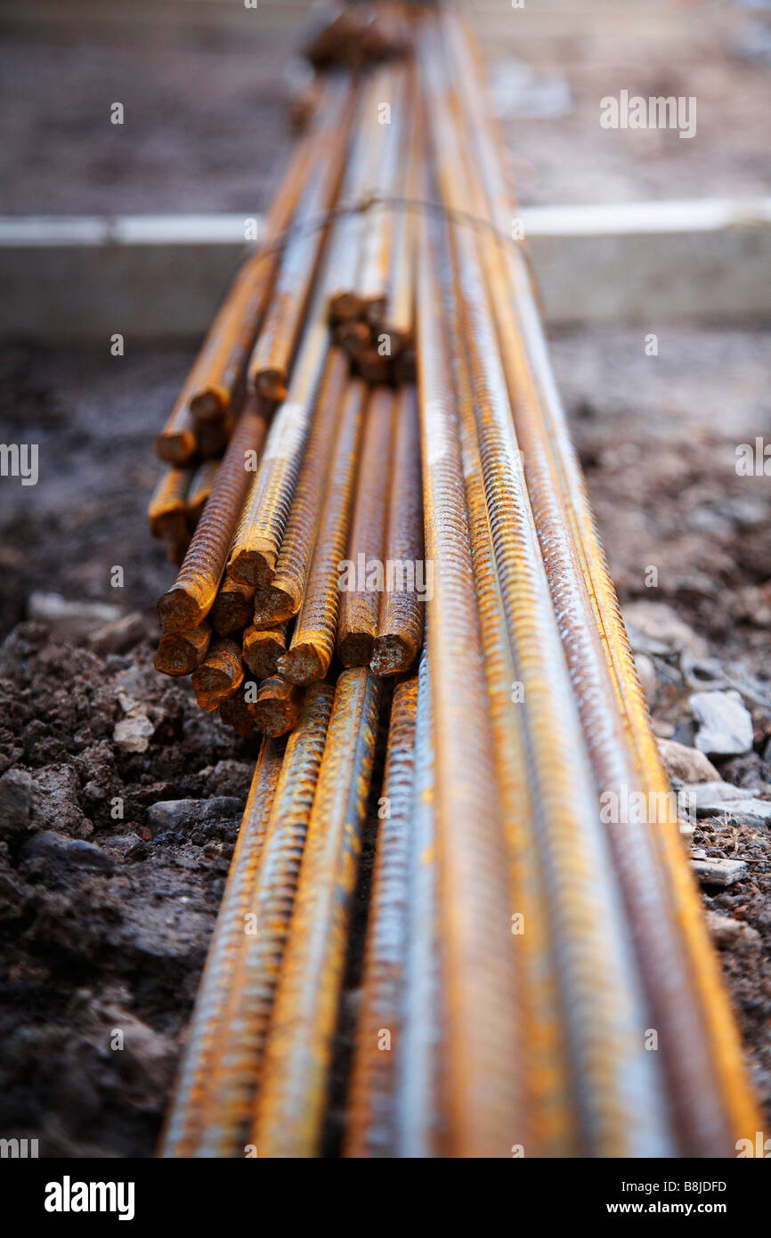 close up of reinforcement steel metal rods - Stock Image