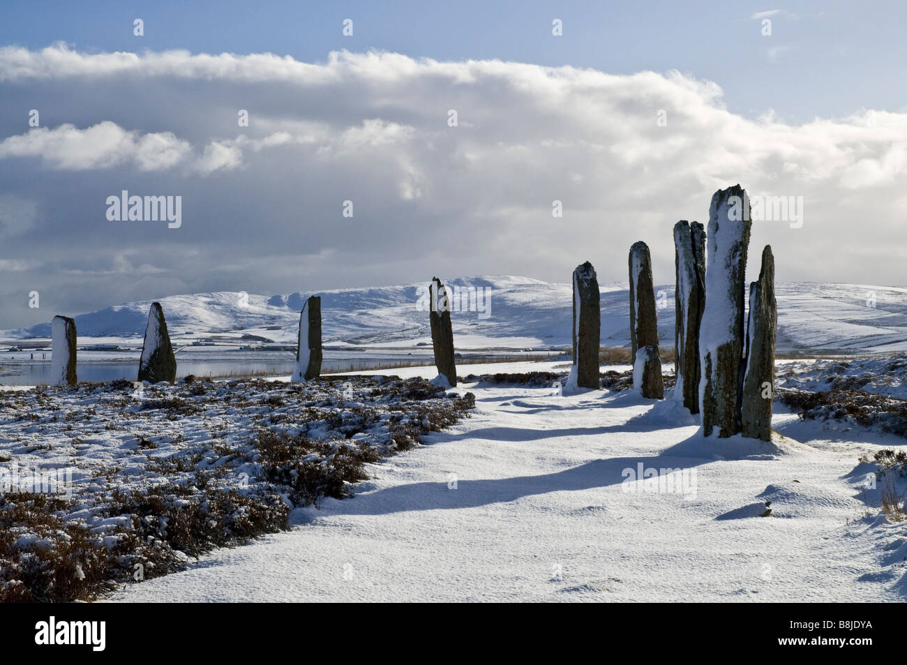 dh  RING OF BRODGAR ORKNEY Stone circle neolithic henge snow landscape bronze age britain standing stones Stock Photo