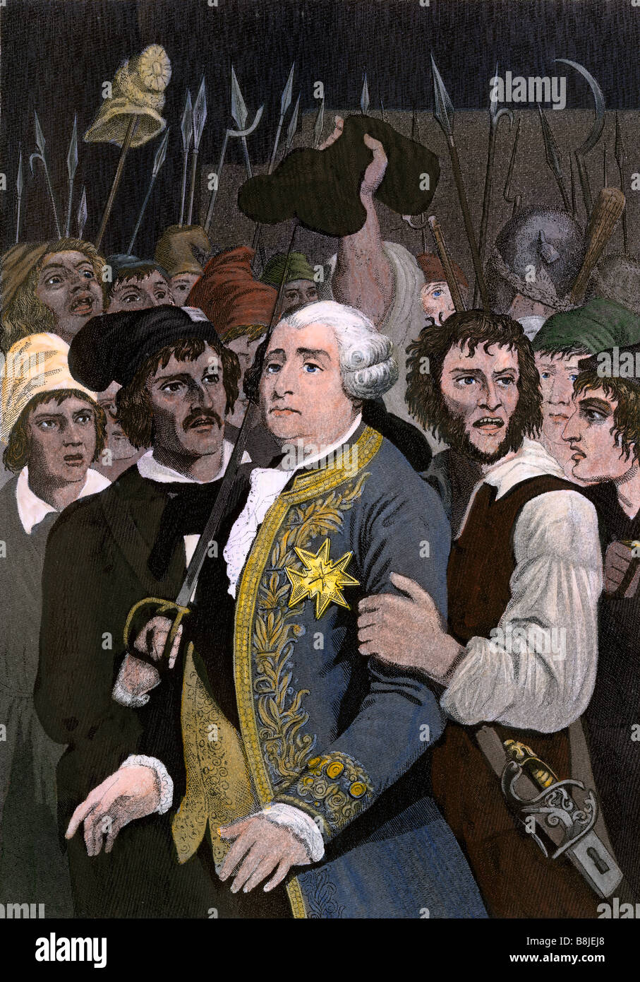 French King Louis XVI threatened by a revolutionary mob at the Tuileries Paris 1792. Hand-colored engraving Stock Photo