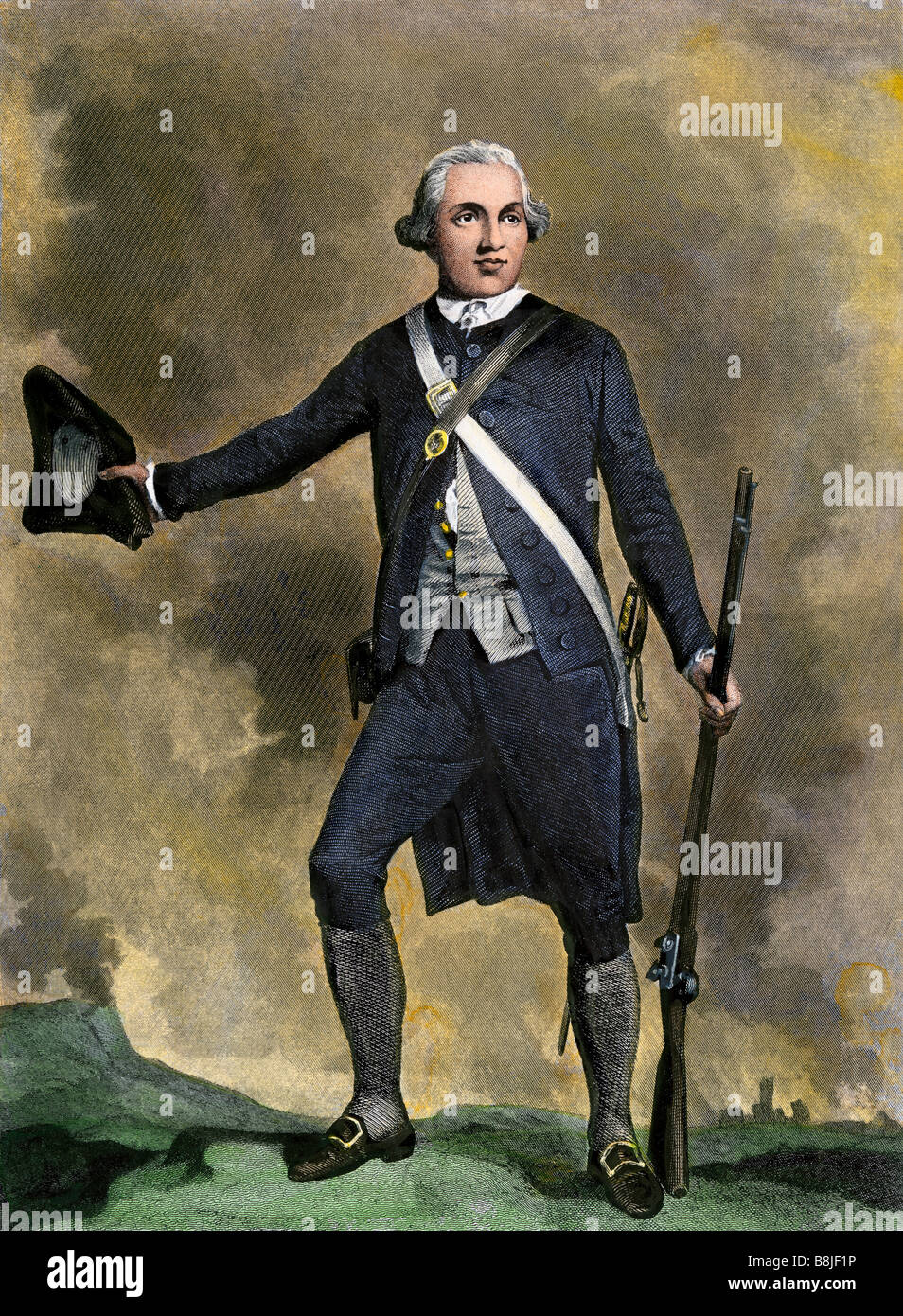 Joseph Warren American patriot leader at the Battle of Bunker Hill. Hand-colored steel engraving - Stock Image