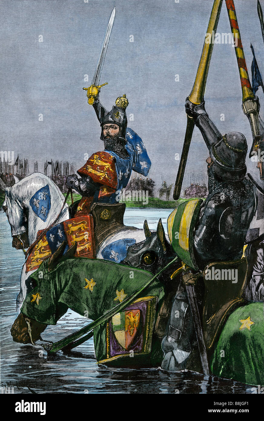 King Edward III of England leading the English army across the Somme in France. Hand-colored woodcut - Stock Image