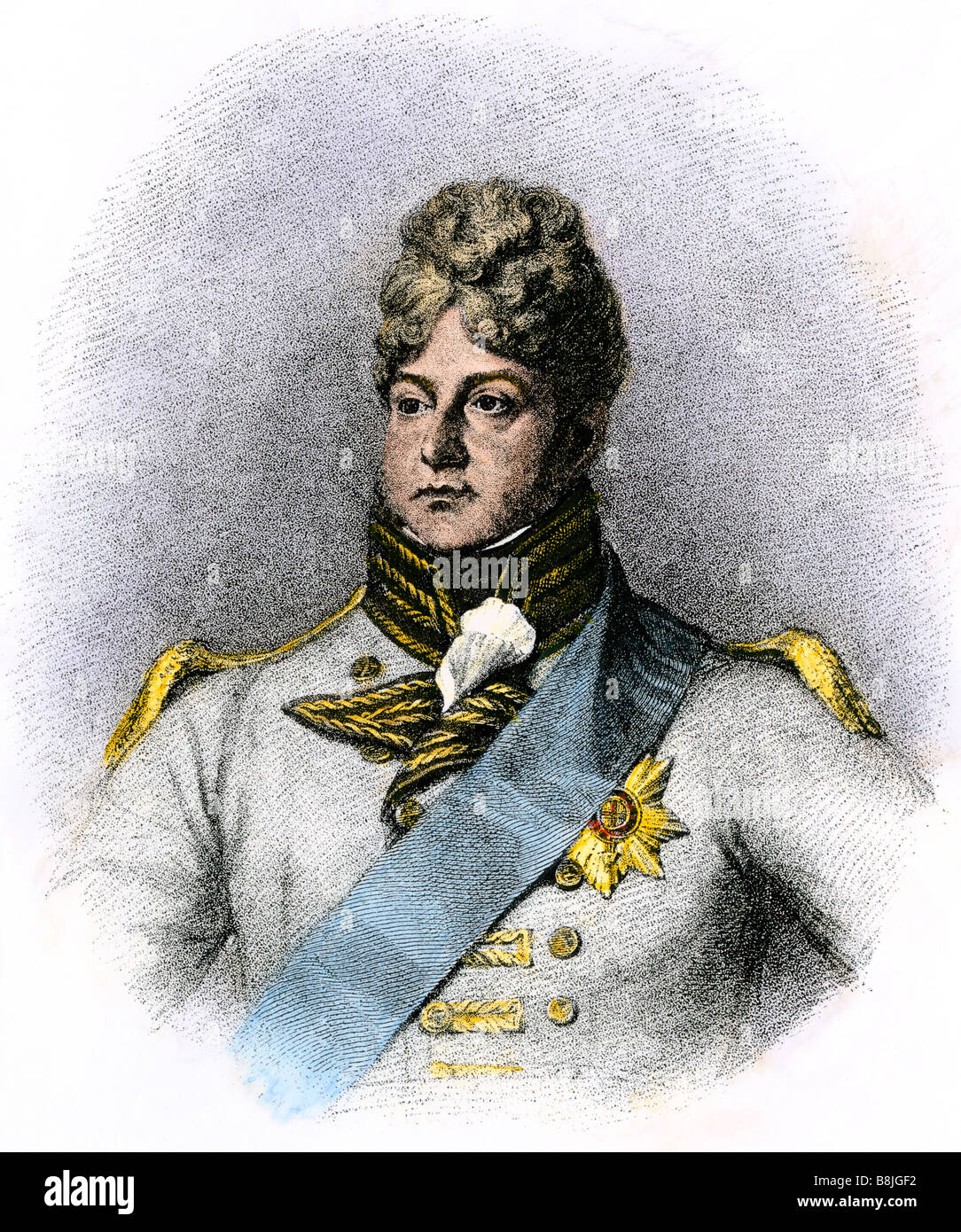 King George IV when Prince of Wales. Hand-colored woodcut - Stock Image