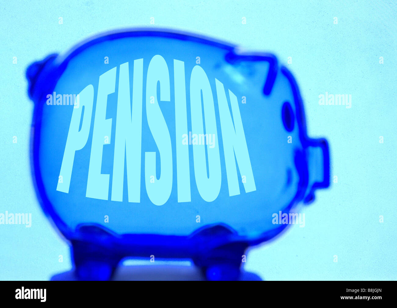 Empty Piggy Bank with Pension Label - Stock Image