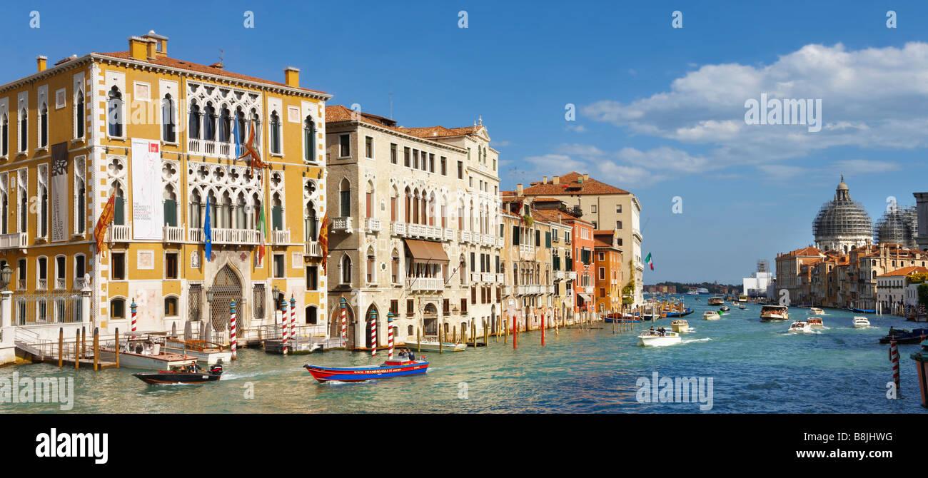 Venice. Gondola on the Grand Canal at Acadamia. Italy - Stock Image