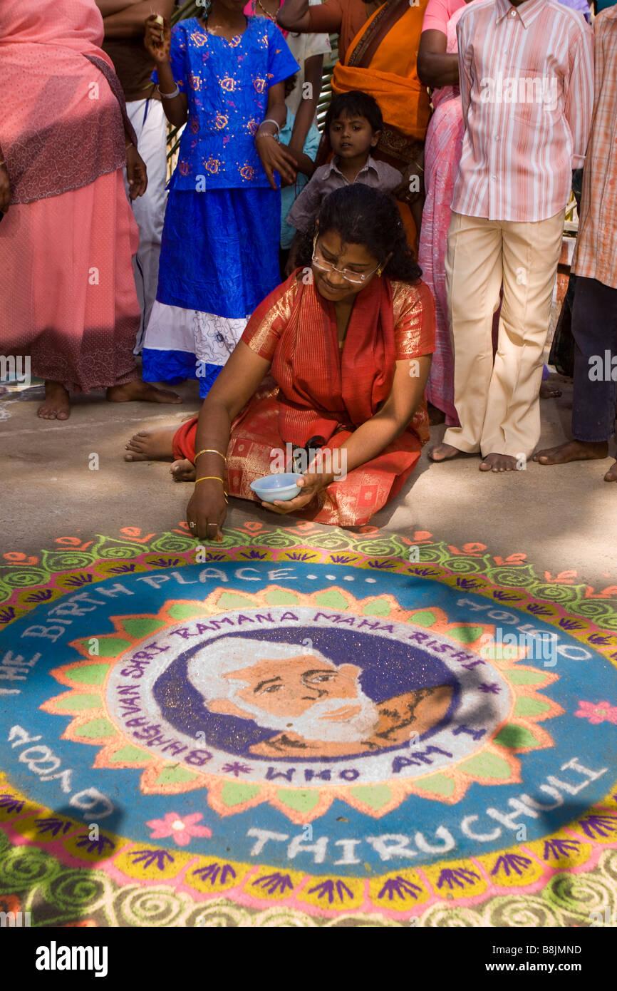 India Tamil Nadu Madurai Thiruchuli Village Pongal celebration Rangoli competitor Stock Photo
