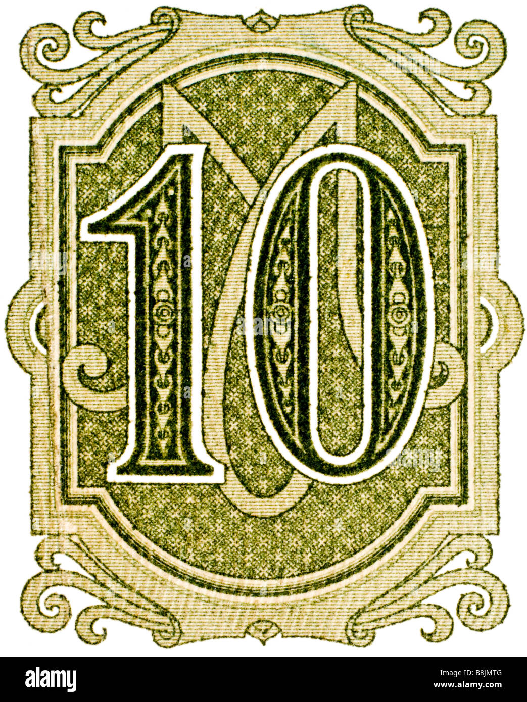 Number 10 from German ten mark banknote of 1906 - Stock Image