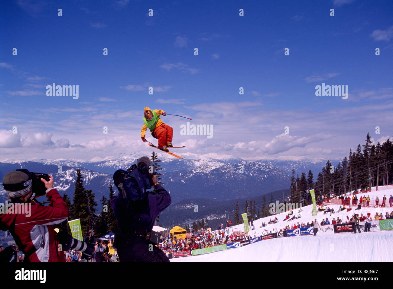 Whistler, BC, British Columbia, Canada - A Freestyle Skier competing at Superpipe Competition at Halfpipe on Blackcomb - Stock Image