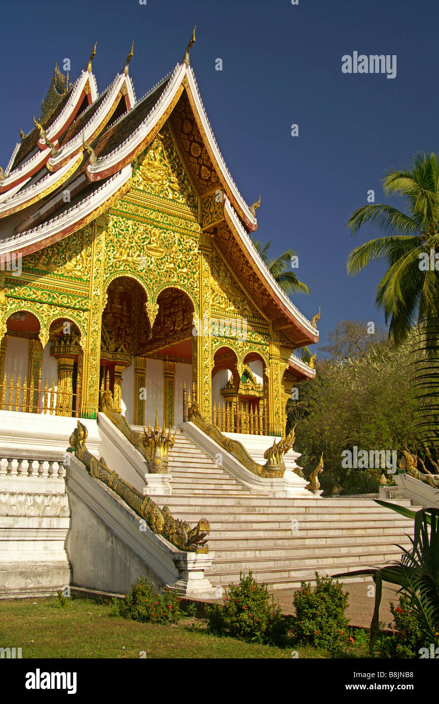 Chapel for revered Prabang Buddha image on grounds of National Palace Museum, Luang Prabang, Laos - Stock Image