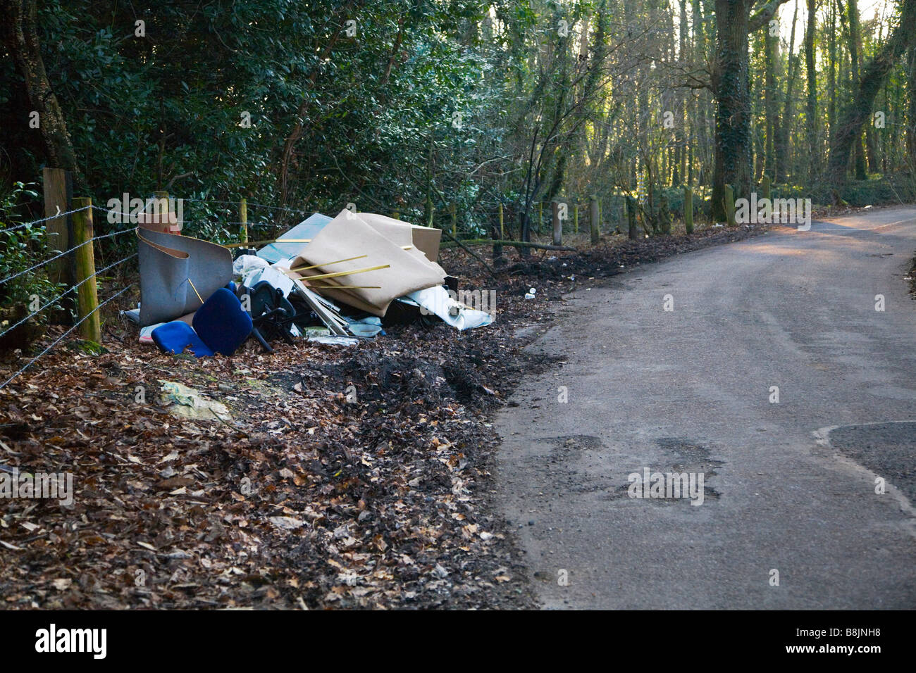 Fly tipping in the New Forest, Hampshire, UK. Stock Photo