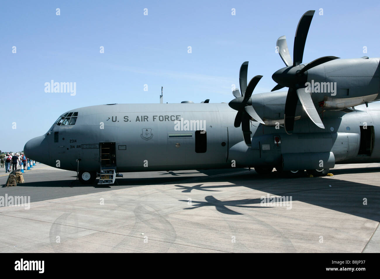 Front fuselage and engines of United States Air Force CC 130J Hercules aircraft RIAT 2005 RAF Fairford - Stock Image
