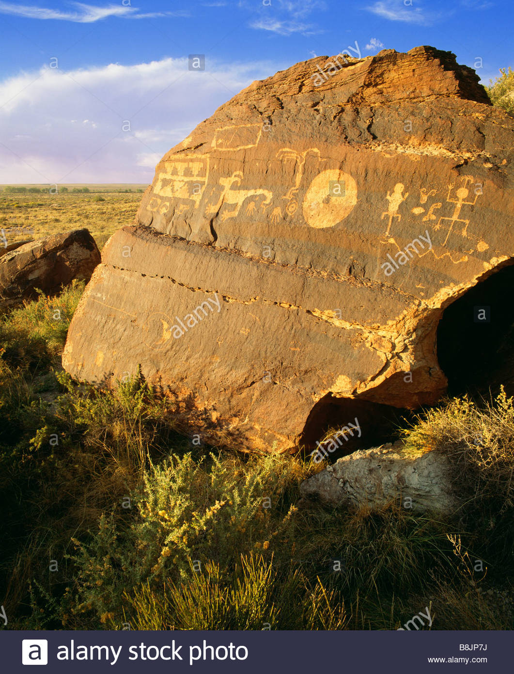 Anasazi culture petroglyphs on boulder with desert varnish Petrified Forest National Park Arizona - Stock Image
