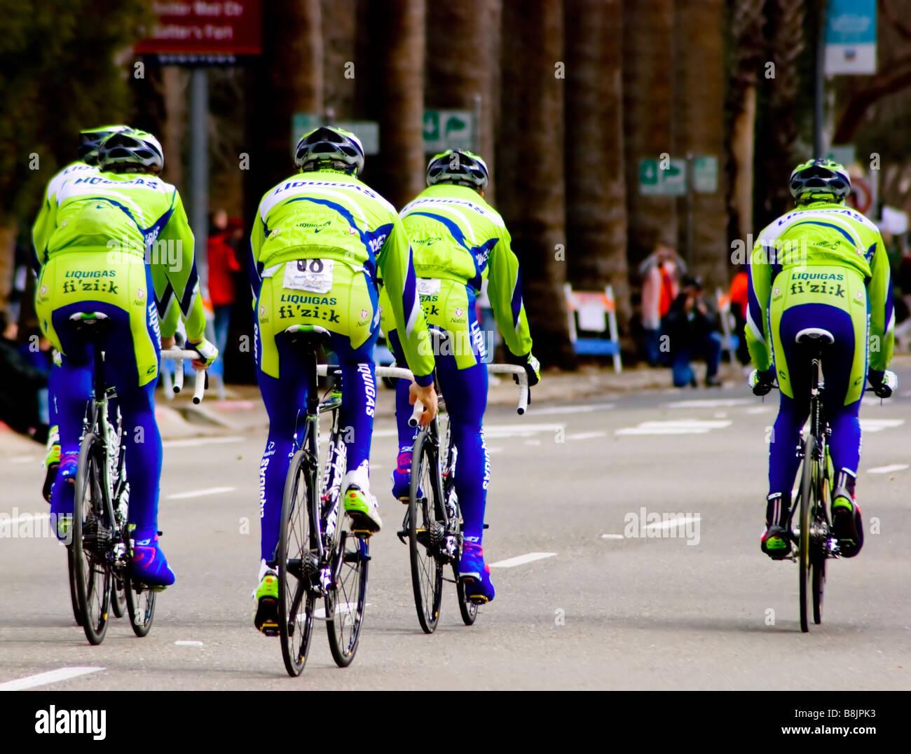 SACRAMENTO CA February 14 2009 Italian Liquidgas pro cycling team preparing for time trials at Amgen Tour of California - Stock Image