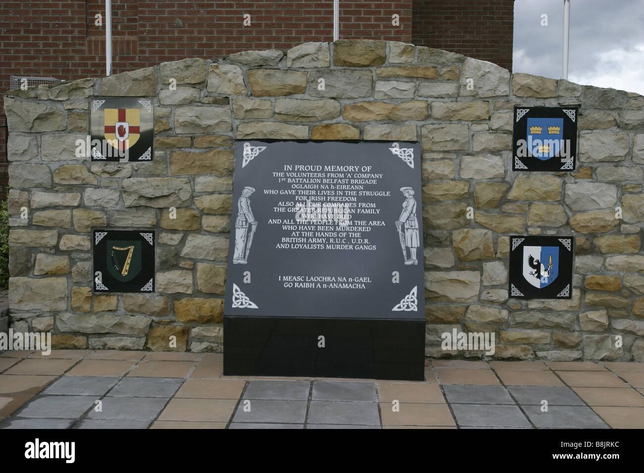 IRA republican memorial garden remembrance andersonstown west belfast northern ireland - Stock Image