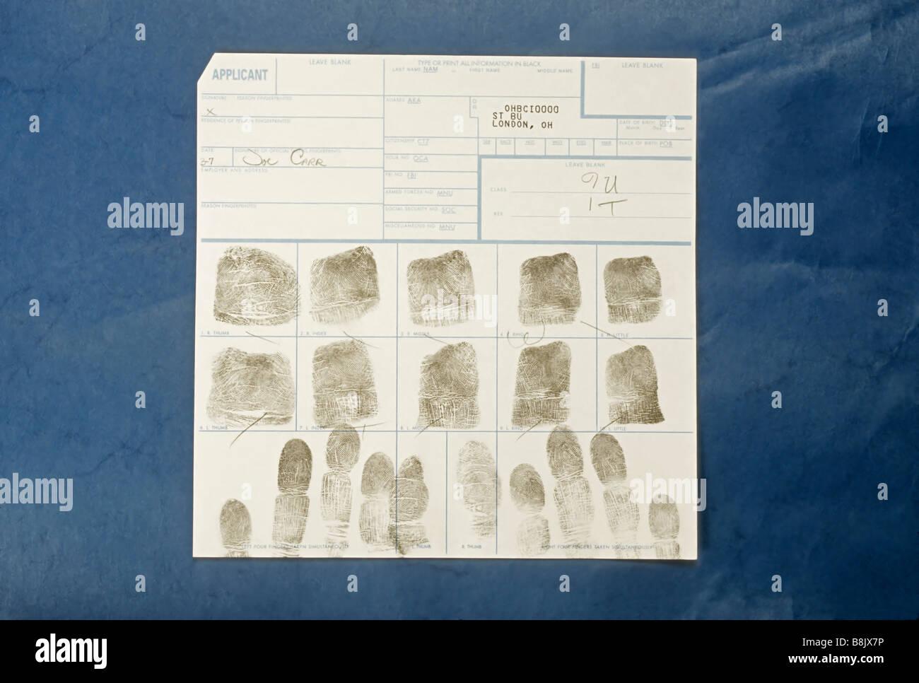 Fingerprints from police blotter, crime, criminal justice, London, Ohio - Stock Image