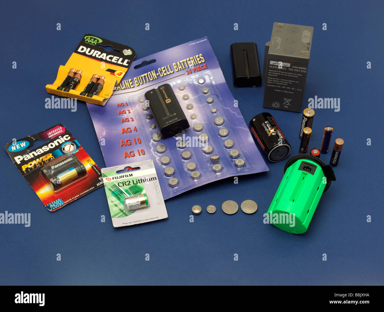 A Selection of Different Types of Batteries - Stock Image