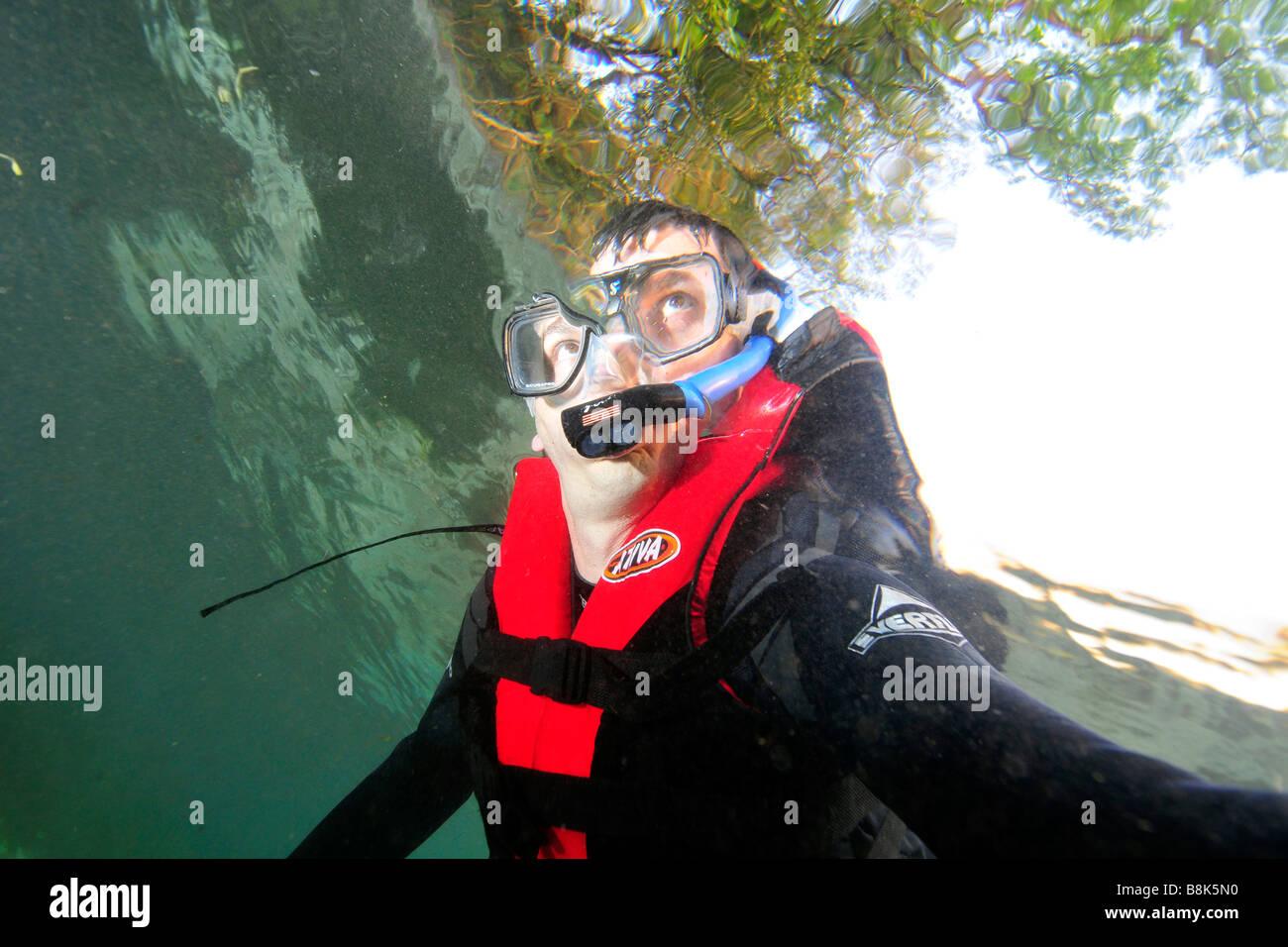 Diver at Aquario Natural Bonito Mato Grosso do Sul Brazil - Stock Image