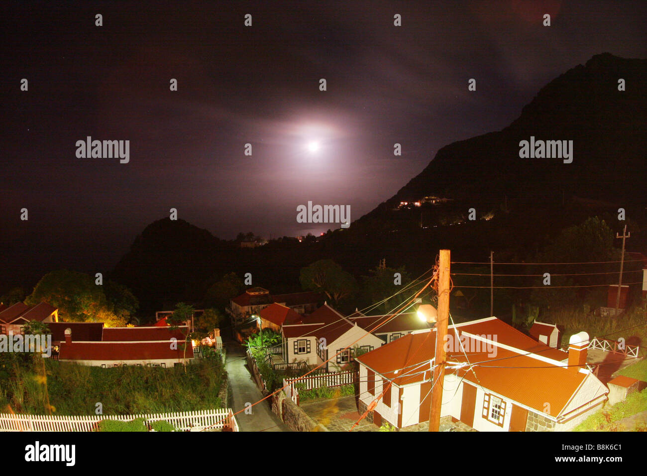 Nightly sky over the village Windwardside on the Caribbean isle Saba - Stock Image
