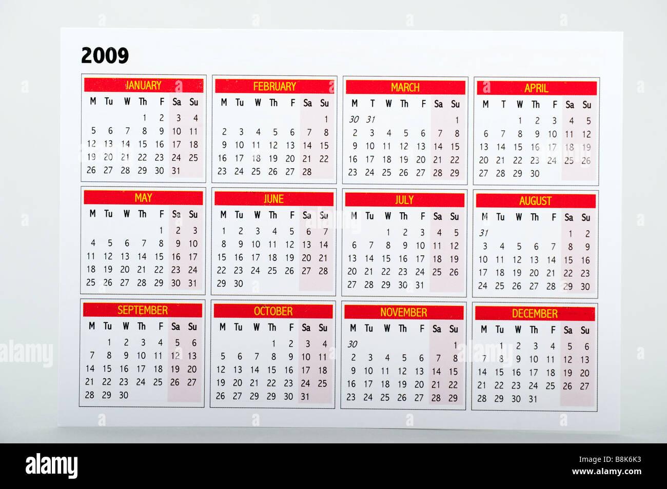 Small 2009 Calendar card - Stock Image