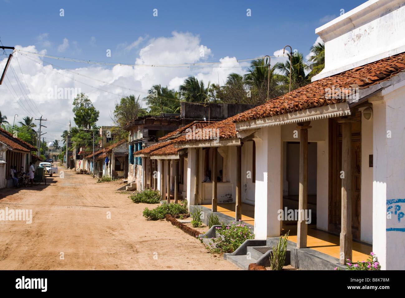 India Tamil Nadu Tranquebar Tharangambadi village street of small local houses - Stock Image